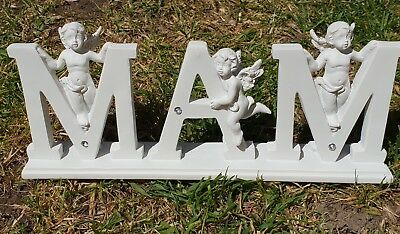 Mam Letters Grave Memorial Ornament Remembrance Mam Cherub Letters Plaque