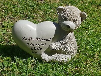 Little Boy Grave Memorial Ornament Remembrance Teddy Plaque Little Boy