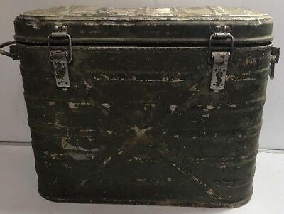 Vintage 1976 US Military Army Food Cooler Container Metal Used Has wear RARE