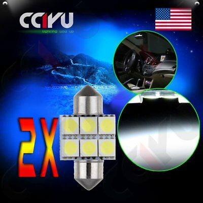 2pcs Festoon 31mm White 6SMD Car LED Dome Door Map Interior Light Bulbs DE3175