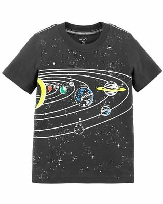 New Carter's Glow In Dark Solar System Planets Boys Top Tee NWT 3T 4T 5T  Gray