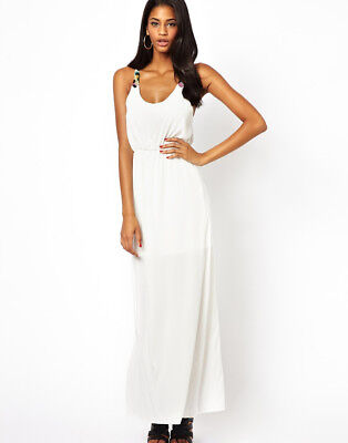 Oh My Love White Maxi Dress Animal Print Straps Racer Back Top Shop