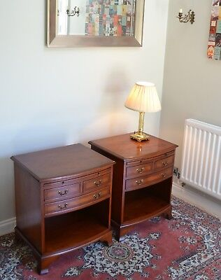 Fine PAIR Antique Style Bradley Yew Wood Bedside Cabinets Lamp Tables Bow Front