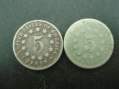 1867 & 1868 U.S. Shield Nickels 5c Coins  **NO RESERVE**