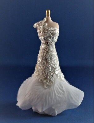 OOAK Artist Offering Dollhouse Miniature White Lace Evening Gown New 1:12 Scale