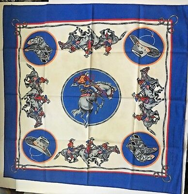 Vintage Rodeo Bandana Cowboy Cowgirl Bronco Horse Boots Lasso Western 21x21 Blue