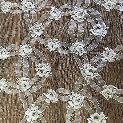 """Vintage 1940s 1950s Ivory Floral Antique Net Lace Tulle sewing bridal 36"""" 4 YDS"""