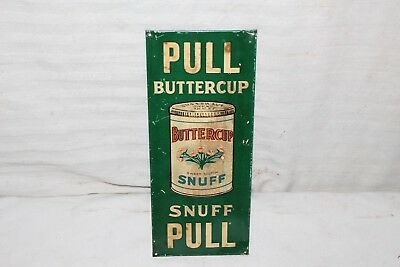 Vintage 1920's Buttercup Snuff Chewing Tobacco Embossed Metal Door Push Sign