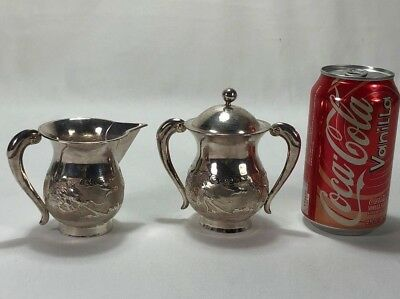 Antique Chinese Export Silver Sugar Bowl & Cream Pitcher Dragon Decorations 314g