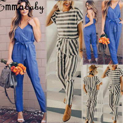 Women's Casual Club wear Playsuit Bodysuit Party Jumpsuit & Romper Long Trousers