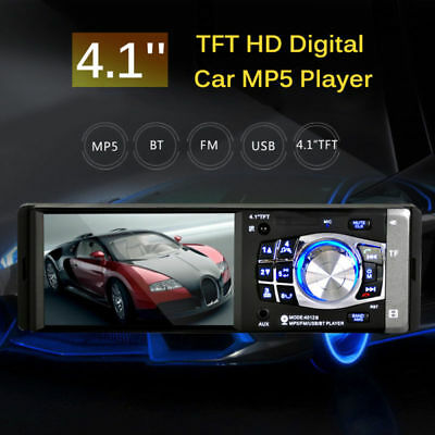 "4.1"" HD Single 1DIN Car Stereo Video MP5 Player Bluetooth FM Radio AUX USB SD TF"