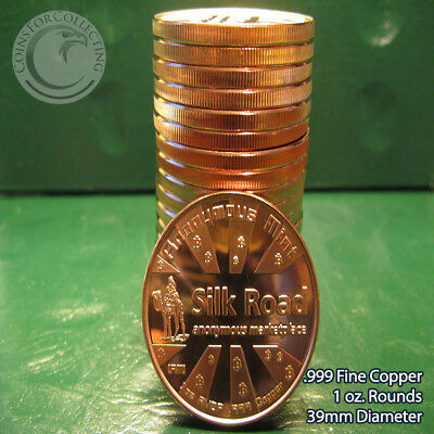 """Bitcoin Silk Road"" 1 oz .999 Copper 20 beautiful rounds 1 Roll in tube"
