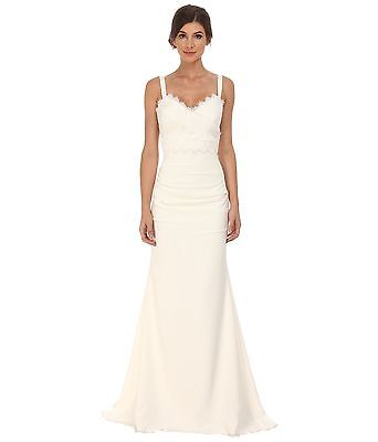 939210d361 Nicole Miller Tonya Stretch V-Neck Silk Bridal Gown Sz 10 NWT  1200  Authentic!
