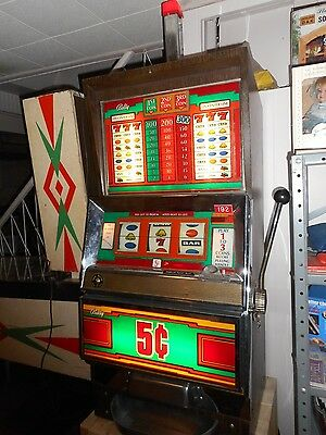 Vintage 1977 BALLY 5 Cent Nickel Slot Machine Model 1090 ~ 1 to 3 Coin LAS VEGAS