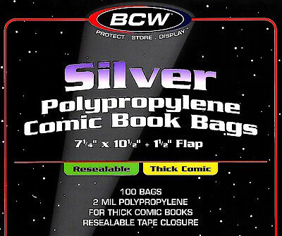 800 BCW Silver Resealable Thick Bags and Boards Comic Book Archival Storage
