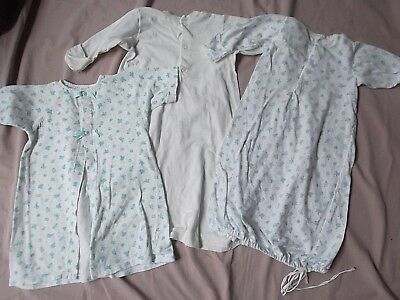 vtg lot 3 Carters baby girl boy newborn layette nightie open gown sack kimono