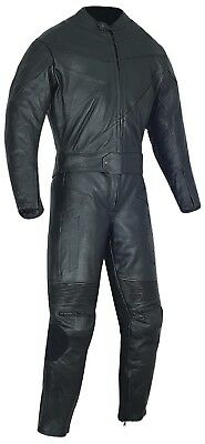 2 Pc Motorcycle Leather Black Racing Suit Ce Approved Protection All Sizes