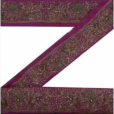 Vintage Sari Border Antique Hand Beaded 1 YD Indian Trim Ribbon Purple Lace