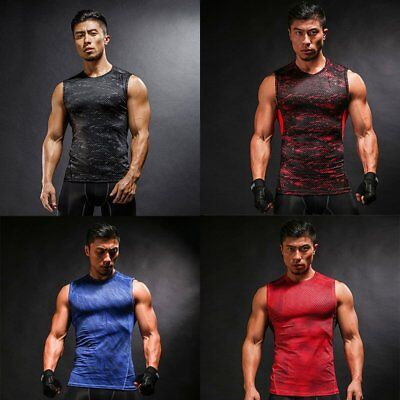Mens Compression Vests Base Layer Fitness Running Sports Vest Tank T-Shirts Tee