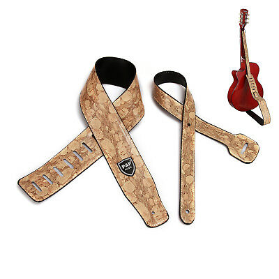 Embossed Wood Brown Guitar Strap Leather PU Adjustable Acoustic Electric Bass