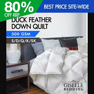 Giselle Duck Down Feather Quilt 500GSM Doona Super King Queen Double Single
