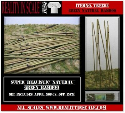 Reality In Scale 1:16 1:35 1:48 Natural Bamboo Set Medium Green 50pc #TREE03