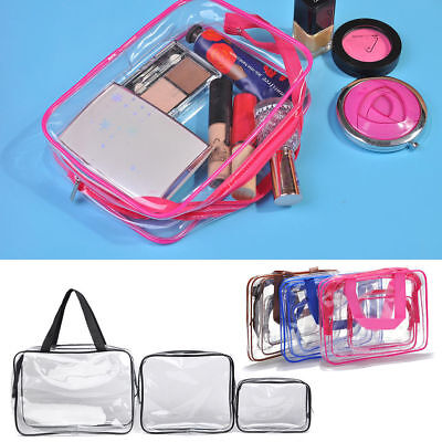 Hot 3pcs Clear Cosmetic Toiletry PVC Travel Wash Makeup Bag Holder Pouch Kit Set
