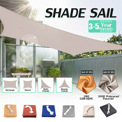 280GSM/300D Waterproof Sun Shade Sail Outdoor Top Canopy Patio UV Block Cover