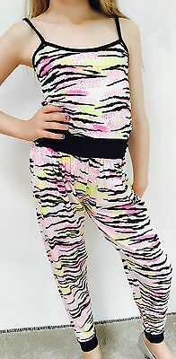 💚 Ages 5-13 Girls Neon Tiger All-in-one Jumpsuit Summer Cami Playsuit New Kids