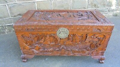 Antique Oriental Carved Camphor Trunk Chest Blanket Box Coffee Table