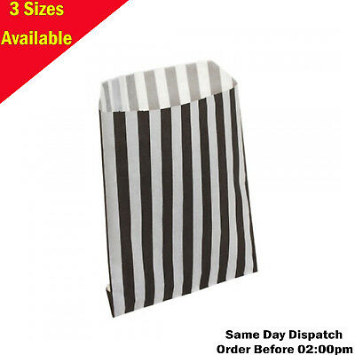 Black Candy Stripe Paper Bags Gift Shop Party Sweets Cake Wedding-3 Sizes