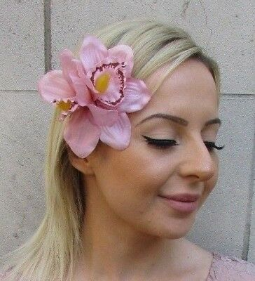 Double Blush Light Nude Pink Orchid Flower Hair Clip Fascinator 1950s Races 5945
