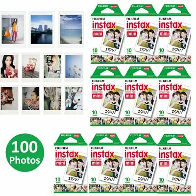 Fujifilm Instax Mini Plain White Film Sheets 100 Photo - Instant 7 8 9 90 Camera