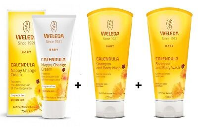 Weleda Baby Calendula Shampoo & Body Wash 200ml x 2 & Nappy Change Cream 75ml