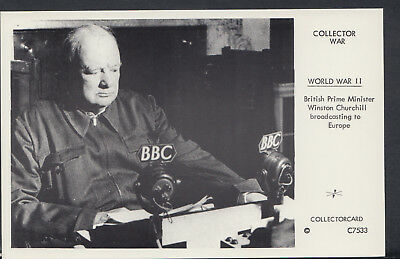Politics Postcard-British Prime Minister Sir Winston Churchill Broadcasting F192