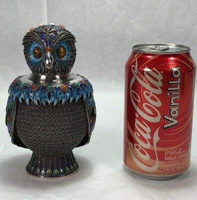 Gorgeous Chinese Gilt Sterling Silver Multi Enamel Inlay Stone OWL Tea Caddy Box