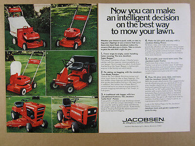 1977 Jacobsen Lawn Mowers 3 Push Models Riding 100 1650 Tractor vintage print Ad