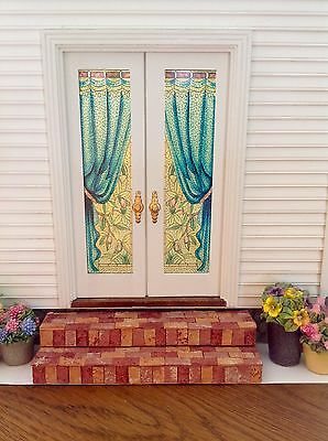 Blue Drape  Dollhouse Miniature Stained Glass French Door Films