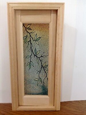 Dollhouse Miniature Single Door Stained Glass Film Mosaic Branch