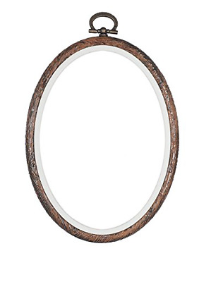 Wood effect Oval Flexi Hoop 4 x 5 inch cross stitch /sewing/ display frame