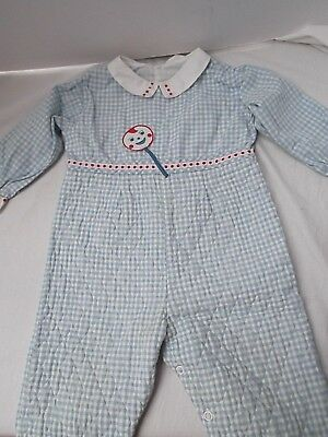 vtg baby boy 12 mo coverall overall blue gingham check quilt one piece applique
