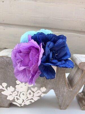 Beautiful Blue Purple Triple Flower Hair Band Fascinator - Weddings Proms Races