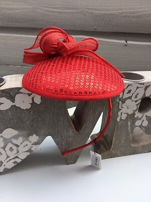 Lovely Red Sequin Sinamay Band Hatinator Fascinator - Weddings Special Occasions