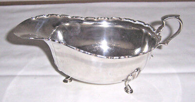 Solid Silver Oval Sauce Boat With Shaped Rim, On 3 Pad Feet, Birmingham 1921