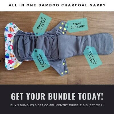 BNIP : Reusable nappies (all in one)  bundle from birth to potty