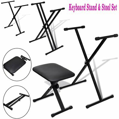 Adjustable Keyboard Stand and Stool Set Foldable Single/Double Braced Keyboard