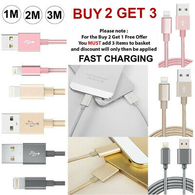 Long Braided USB Quick FAST Charger Data Charging Cable Lead For iPhone X 7 6 5