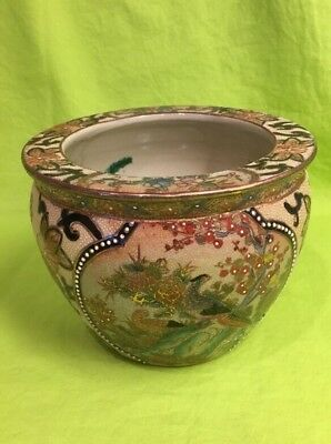 "VINTAGE CHINESE SATSUMA FISH BOWL PLANTER HAND PAINTED 5""x6-1/2"" Nice"