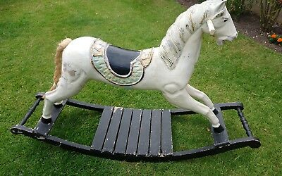 Vintage Old Solid Wood Rocking Horse.fairground Style,heavy,sturdy.shabby Chic
