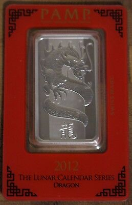 2012 Year of the Dragon PAMP sealed 1 oz Silver Bar